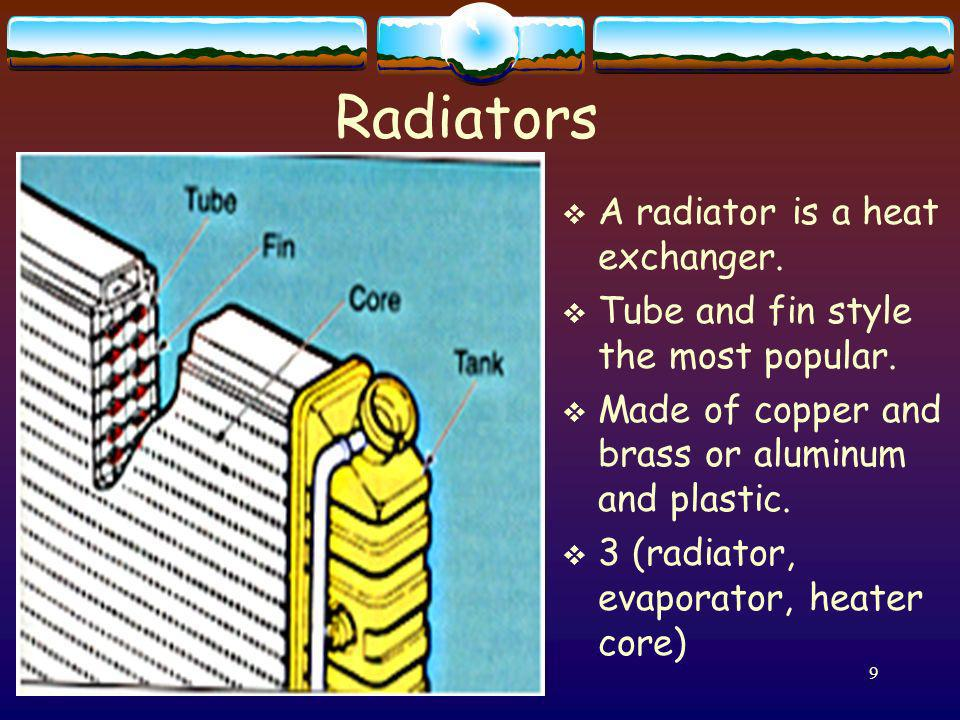 Radiators A radiator is a heat exchanger.