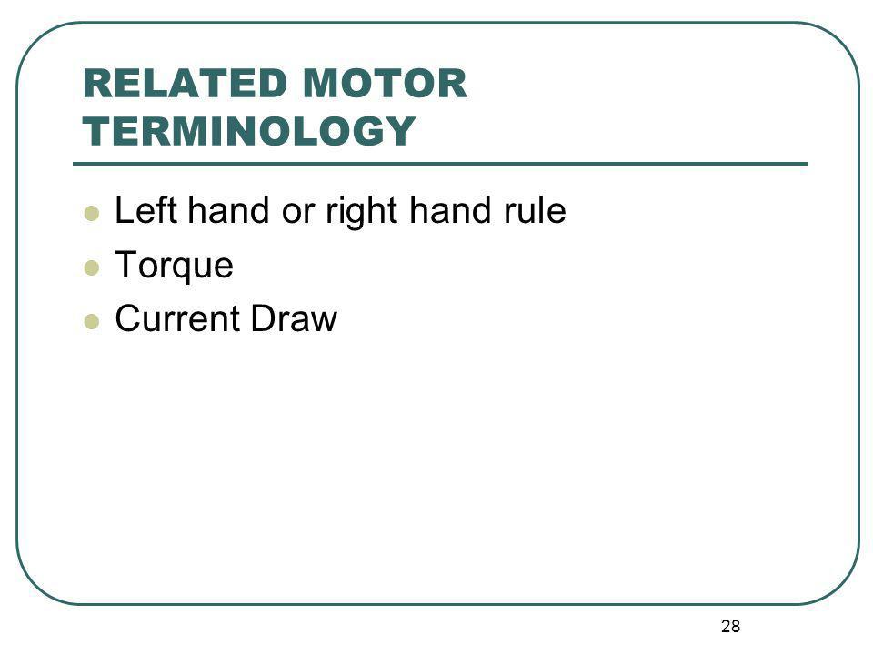 RELATED MOTOR TERMINOLOGY