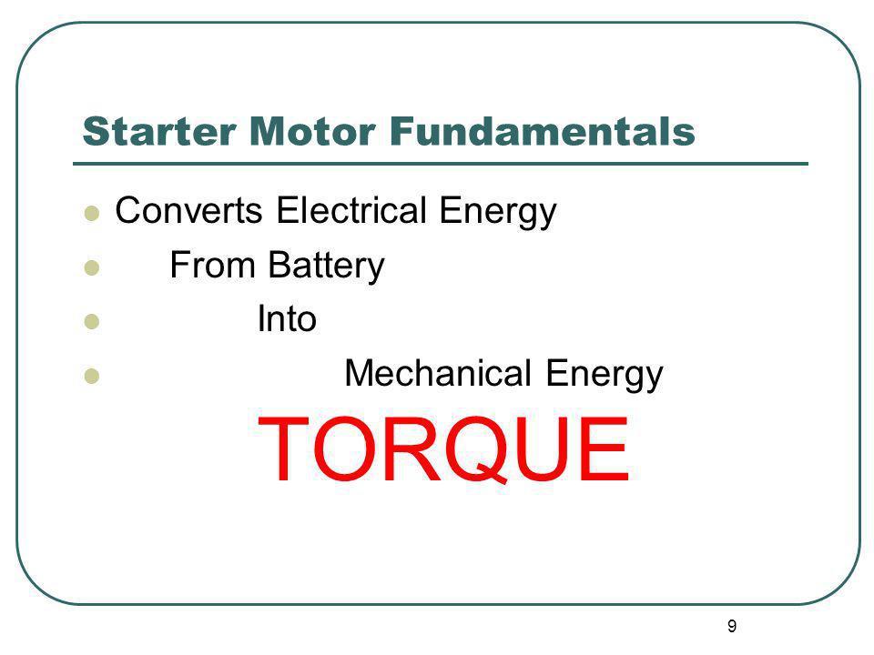 Starter Motor Fundamentals