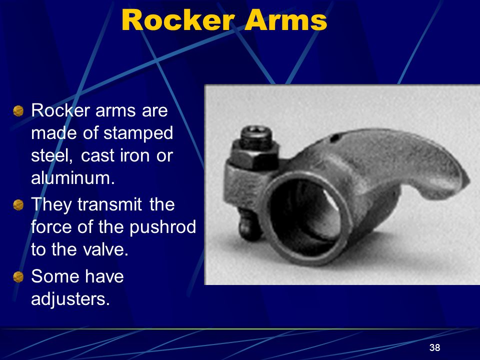 Rocker Arms Rocker arms are made of stamped steel, cast iron or aluminum. They transmit the force of the pushrod to the valve.