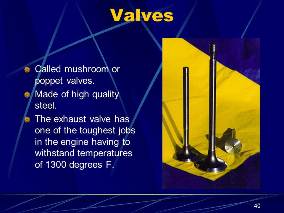 Valves Called mushroom or poppet valves. Made of high quality steel.