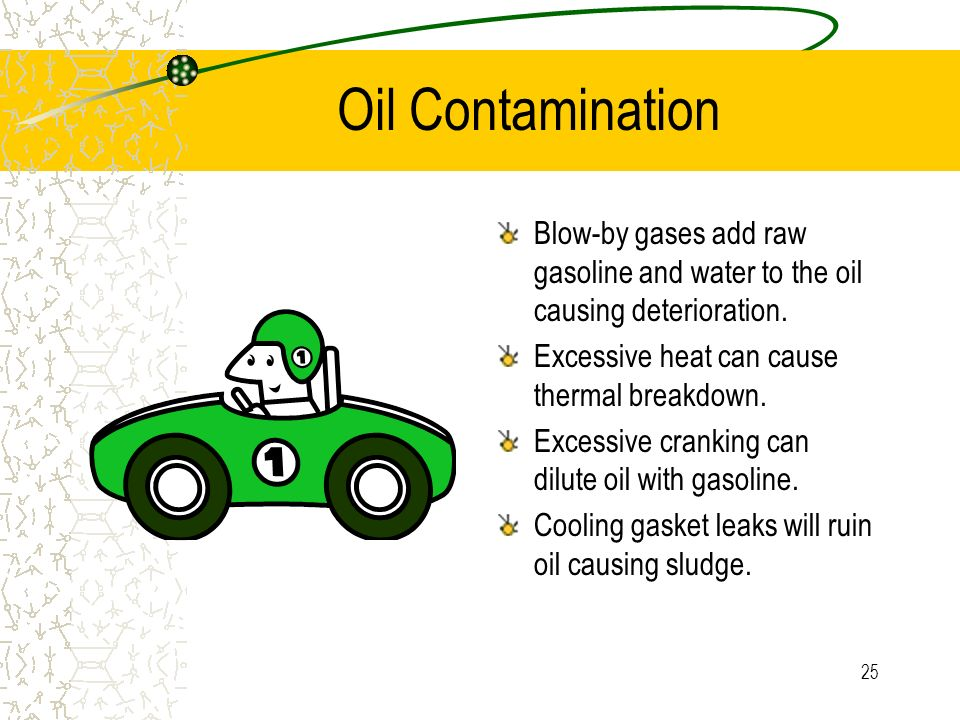 Oil Contamination Blow-by gases add raw gasoline and water to the oil causing deterioration. Excessive heat can cause thermal breakdown.