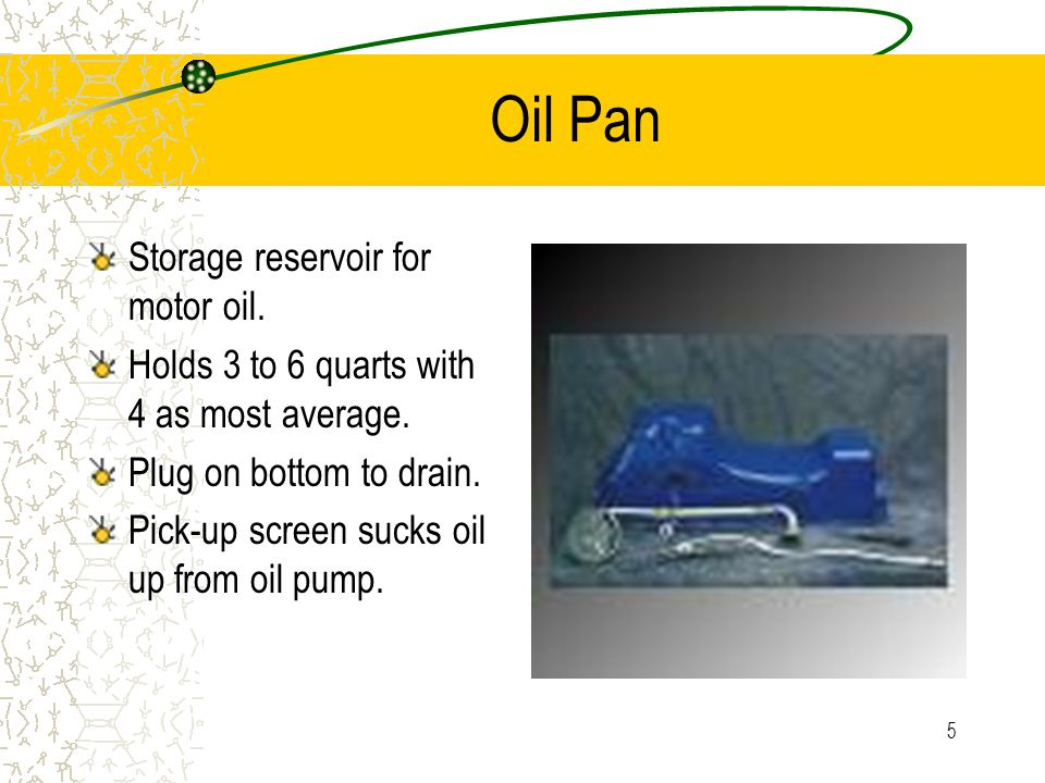 Oil Pan Storage reservoir for motor oil.