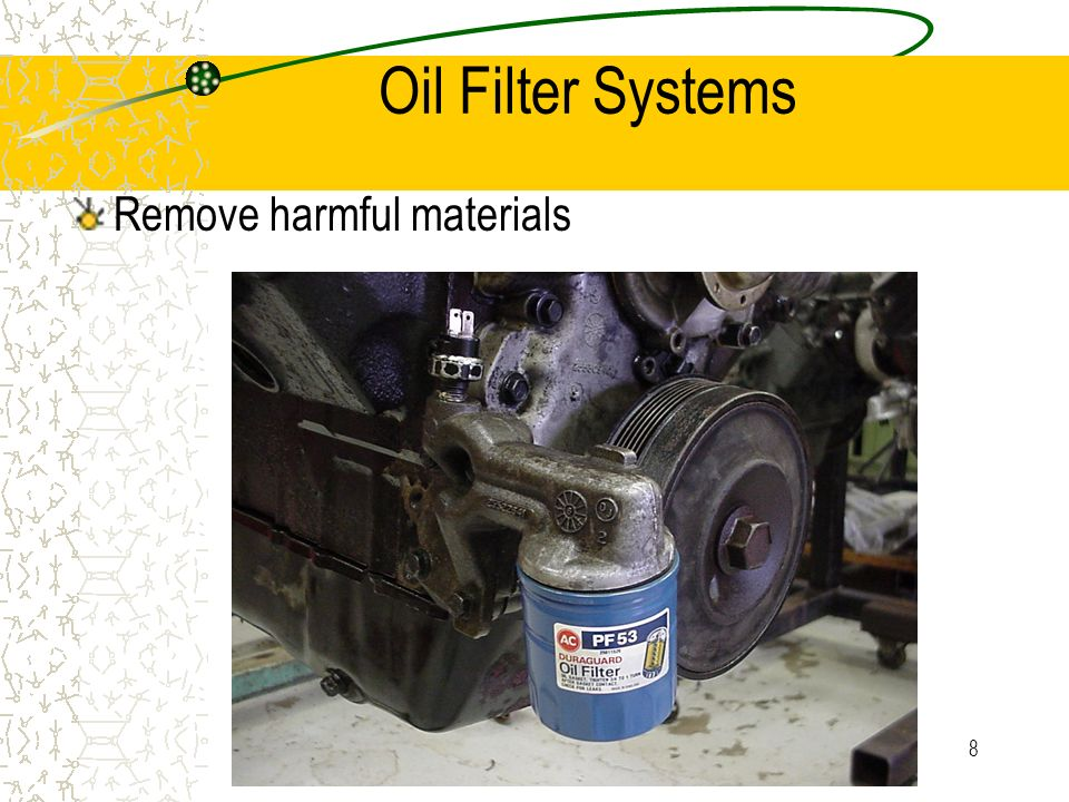 Oil Filter Systems Remove harmful materials