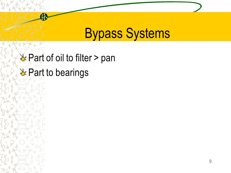 Bypass Systems Part of oil to filter > pan Part to bearings
