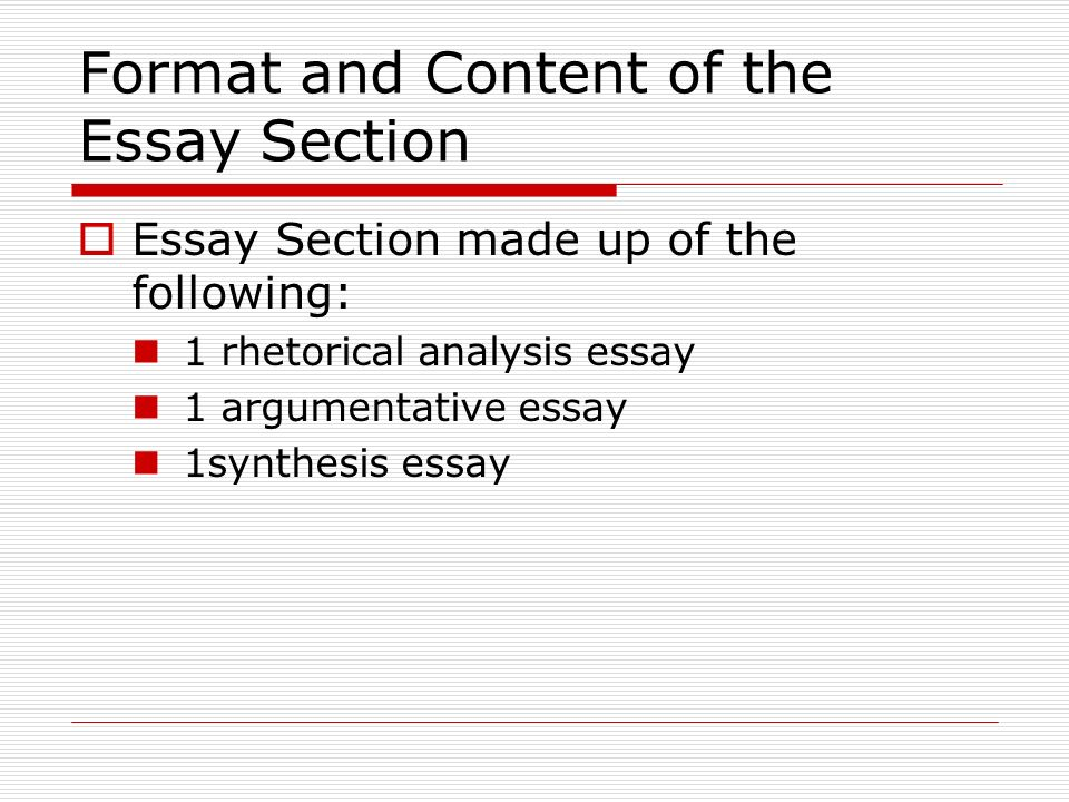 Format and Content of the Essay Section