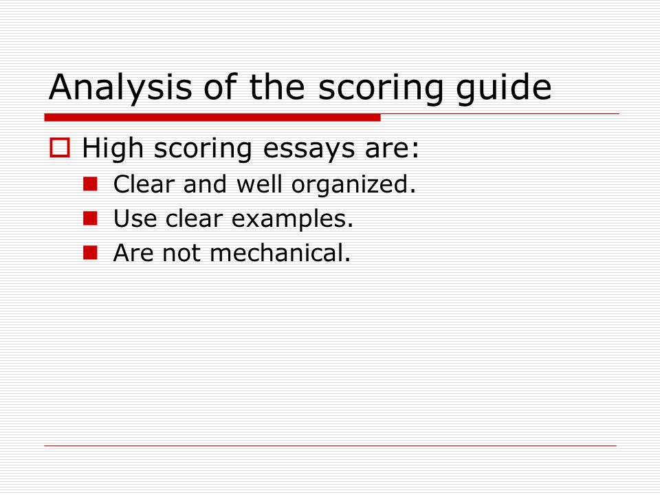 Analysis of the scoring guide