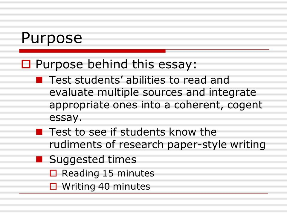 essay of purpose The purpose of a thesis statement is to provide a clear, specific argument that will serve as a guide to the reader so she knows what to expect from your essay a thesis should be related to the.