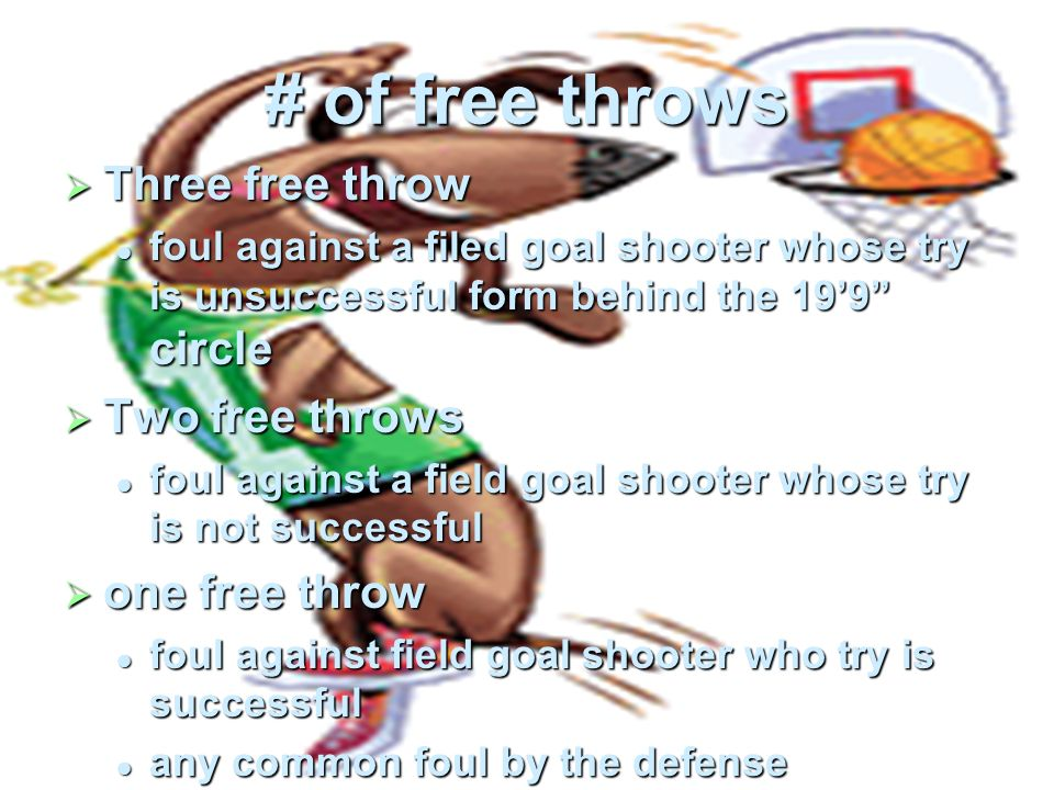 # of free throws Three free throw Two free throws one free throw