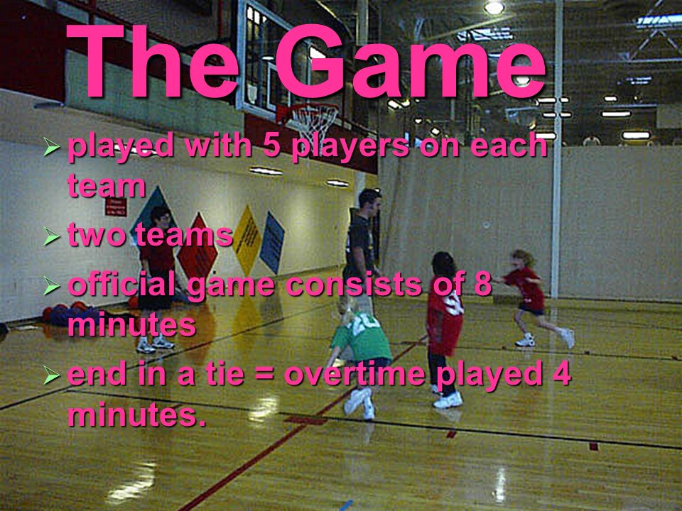 The Game played with 5 players on each team two teams