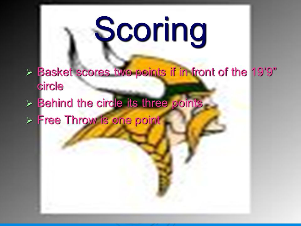 Scoring Basket scores two points if in front of the 19'9 circle