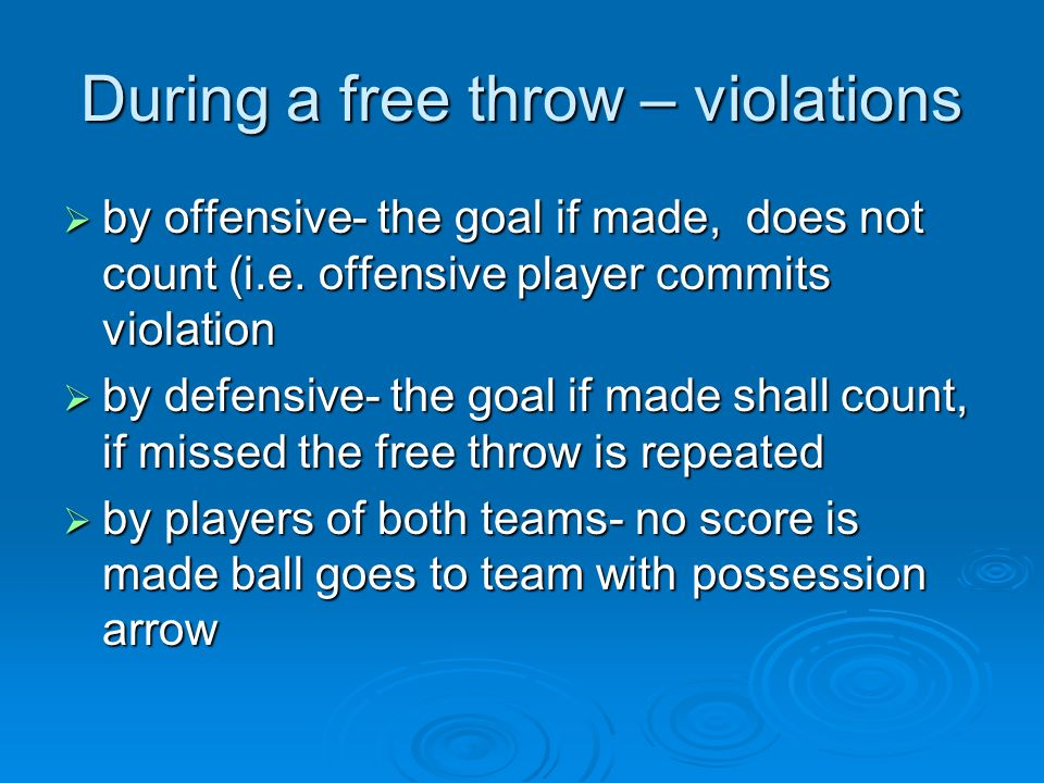 During a free throw – violations