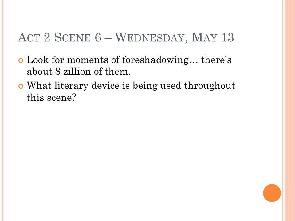 Act 2 Scene 6 – Wednesday, May 13