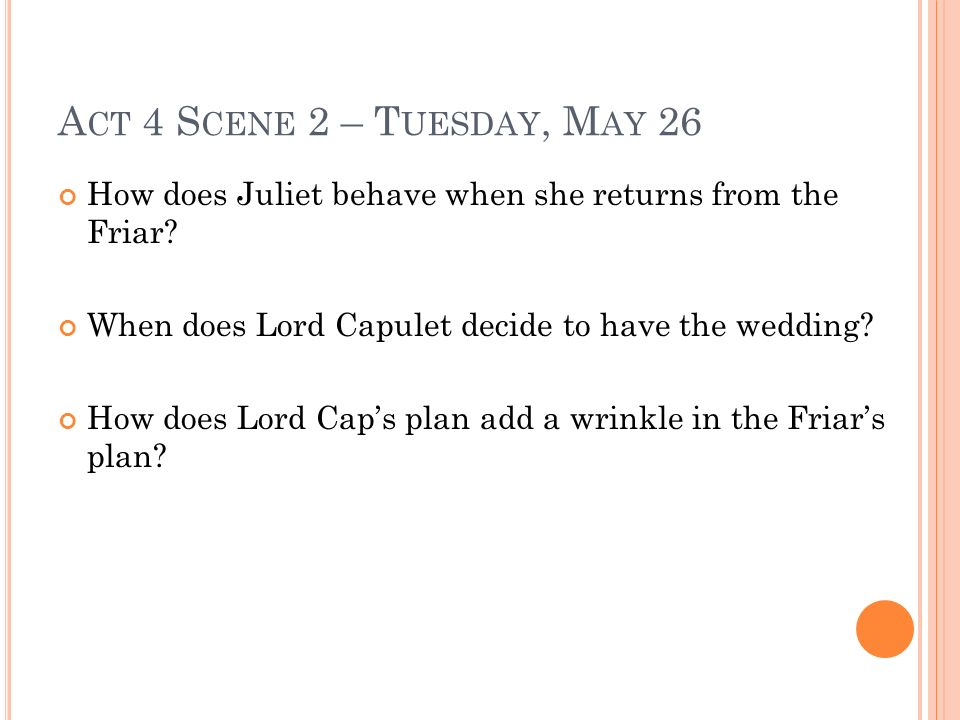 Act 4 Scene 2 – Tuesday, May 26 How does Juliet behave when she returns from the Friar When does Lord Capulet decide to have the wedding