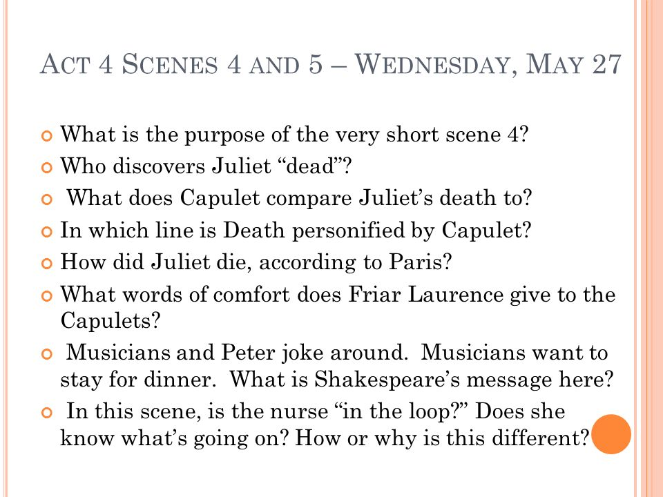 Act 4 Scenes 4 and 5 – Wednesday, May 27