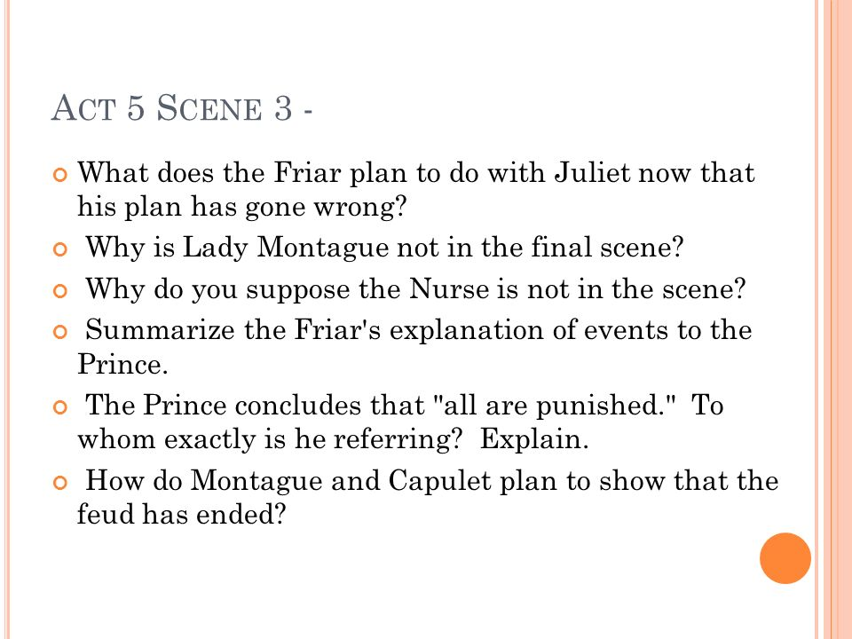 Act 5 Scene 3 - What does the Friar plan to do with Juliet now that his plan has gone wrong Why is Lady Montague not in the final scene