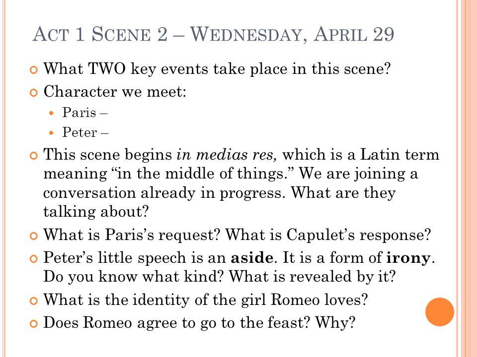 Act 1 Scene 2 – Wednesday, April 29