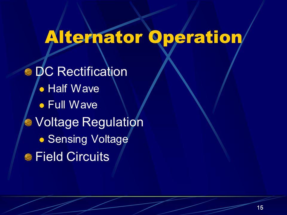Alternator Operation DC Rectification Voltage Regulation
