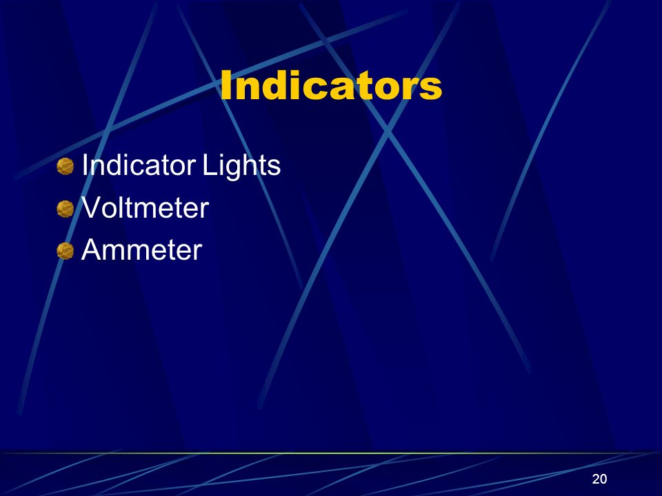 Indicators Indicator Lights Voltmeter Ammeter