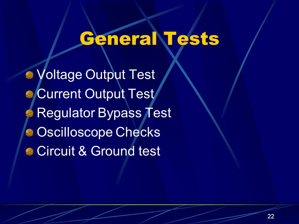 General Tests Voltage Output Test Current Output Test