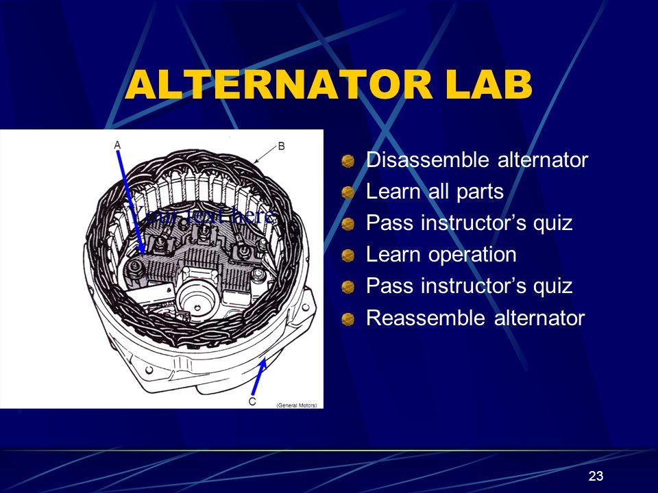 ALTERNATOR LAB Disassemble alternator Learn all parts