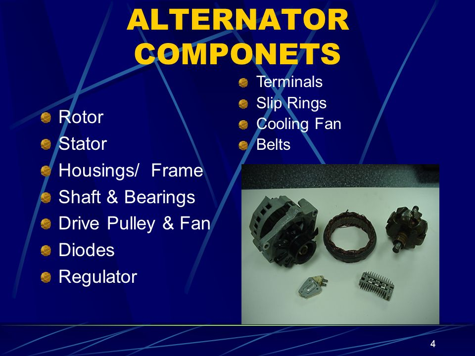 ALTERNATOR COMPONETS Rotor Stator Housings/ Frame Shaft & Bearings