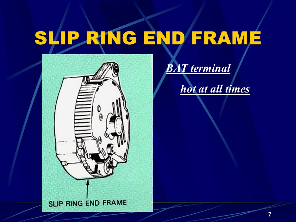 SLIP RING END FRAME BAT terminal hot at all times