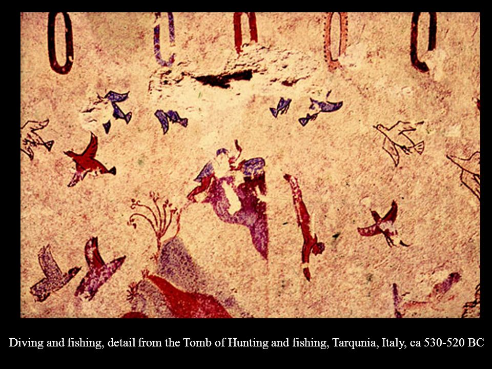 Diving and fishing, detail from the Tomb of Hunting and fishing, Tarqunia, Italy, ca BC