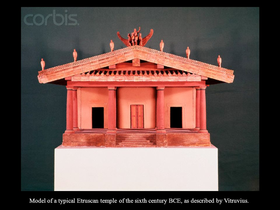 Model of a typical Etruscan temple of the sixth century BCE, as described by Vitruvius.