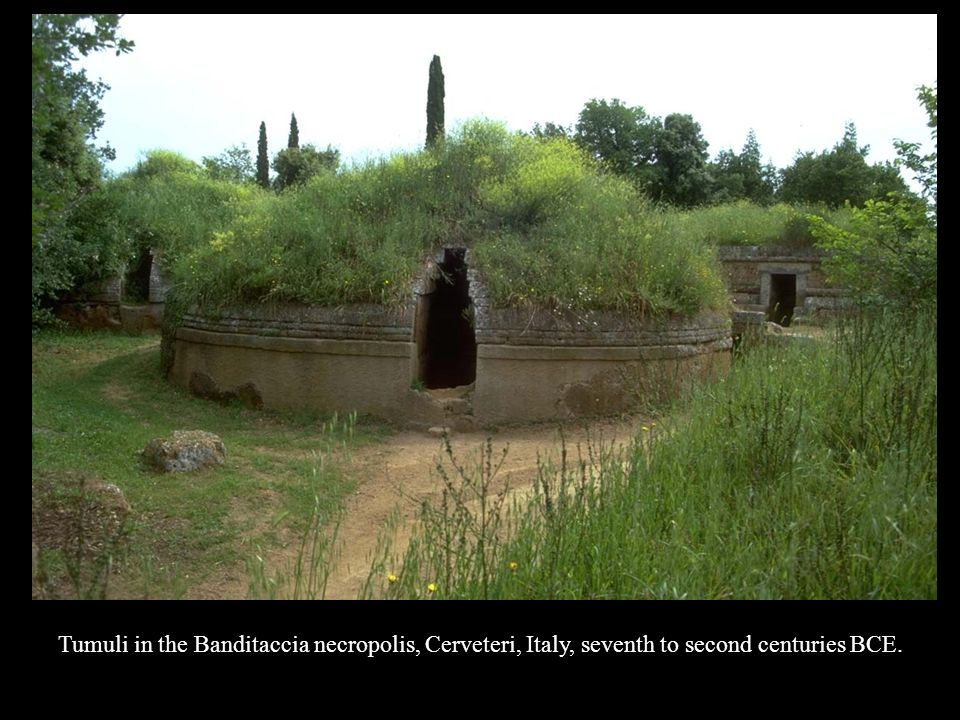 Tumuli in the Banditaccia necropolis, Cerveteri, Italy, seventh to second centuries BCE.