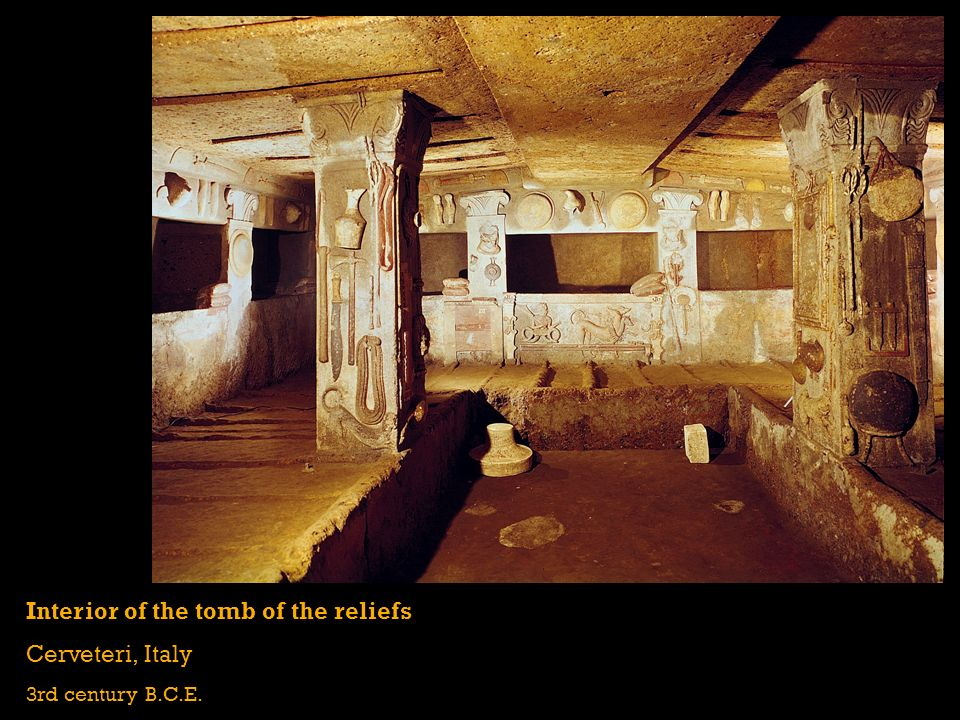 Interior of the tomb of the reliefs Cerveteri, Italy