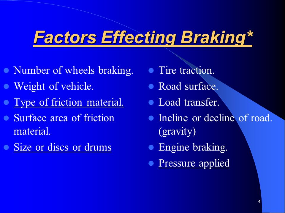 Factors Effecting Braking*