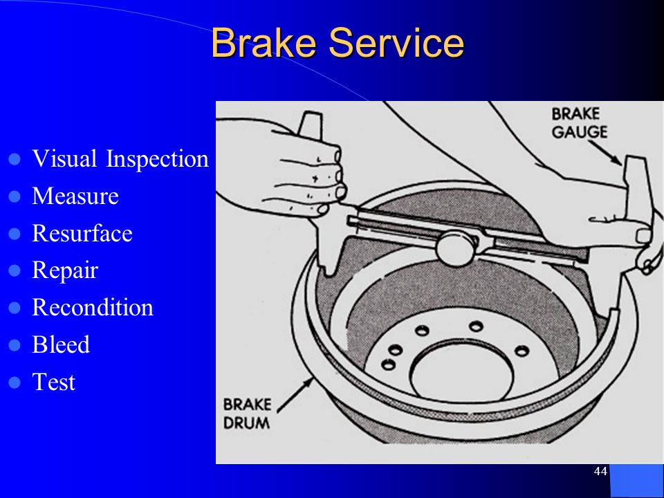 Brake Service Visual Inspection Measure Resurface Repair Recondition
