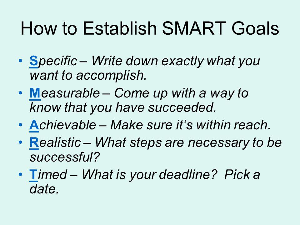 smart goals example how to meet deadline