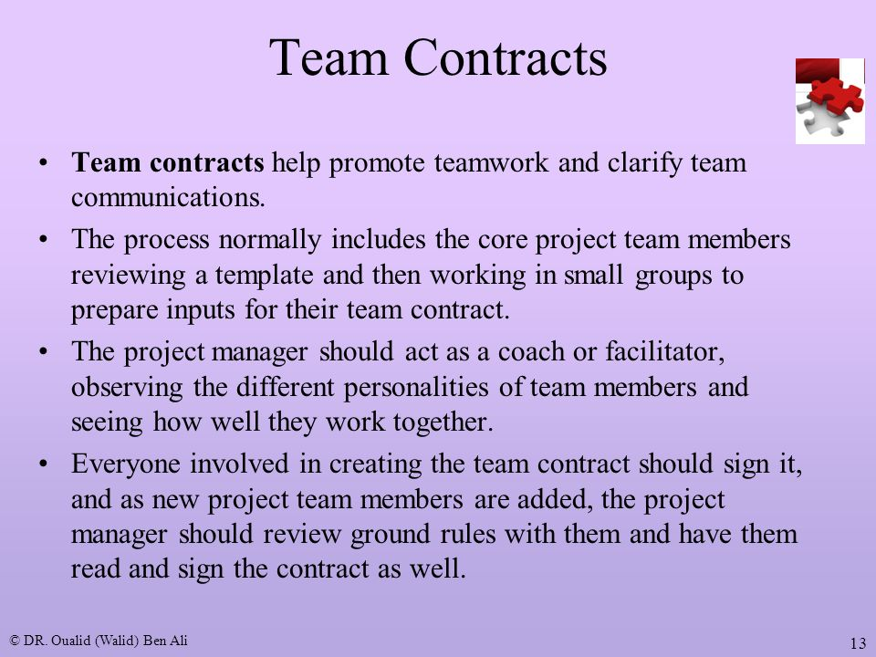 team contract Team contract template team name: these are the terms of group conduct and  cooperation that we agree on as a team participation: we agree to.