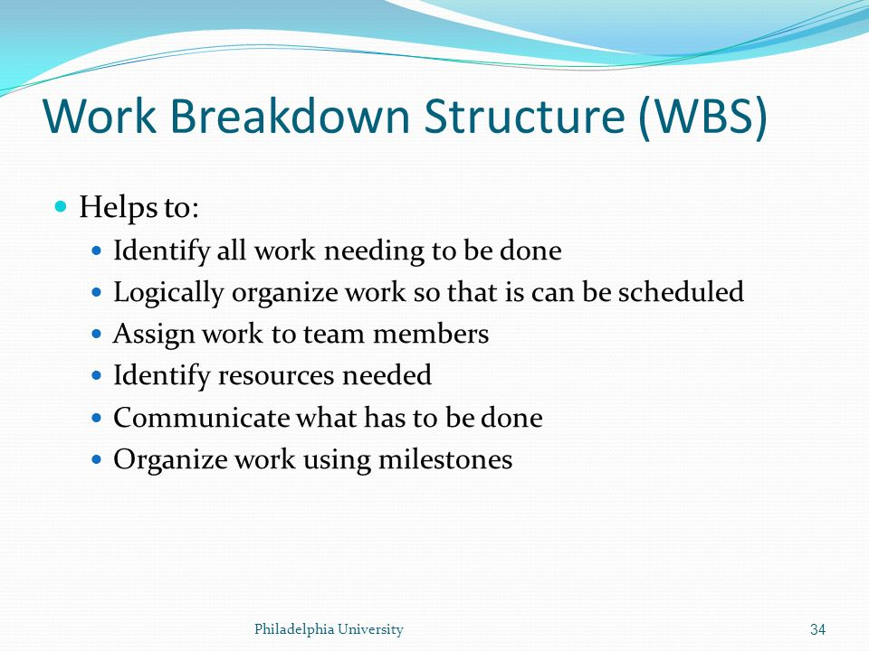The work breakdown structure involves identifying the