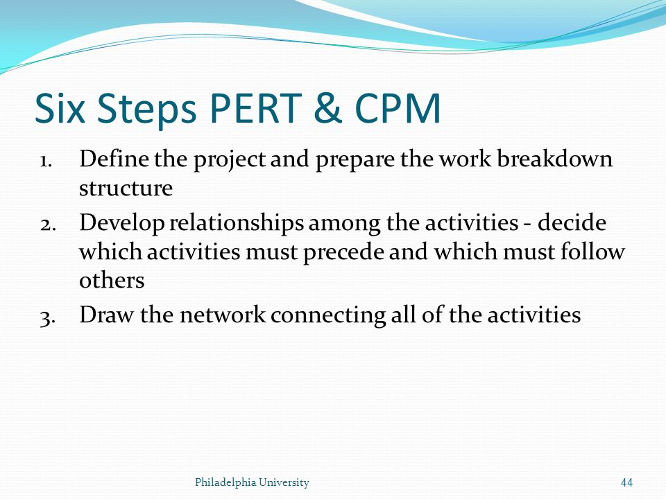 application of pert and cpm Cpm and pert in construction projects are the tools used for efficient management of activities cpm is critical path method and pert is program evaluation and review technique the critical path method (cpm) was first used during the overhauling of a chemical plant in united states in the year 1950.