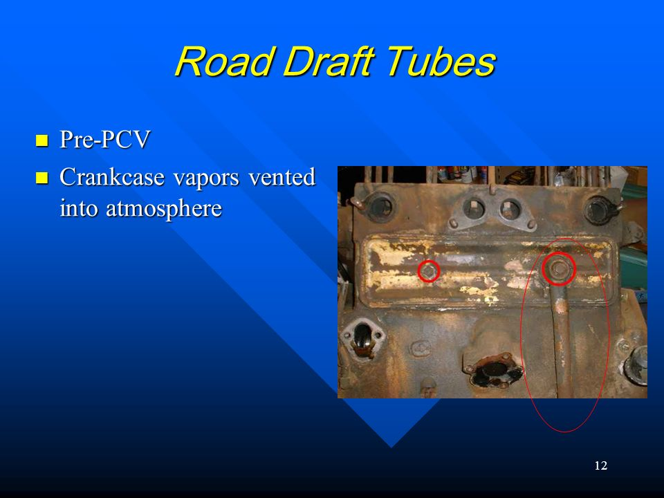 Road Draft Tubes Pre-PCV Crankcase vapors vented into atmosphere