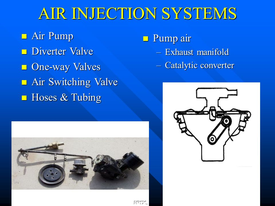 AIR INJECTION SYSTEMS Air Pump Pump air Diverter Valve One-way Valves
