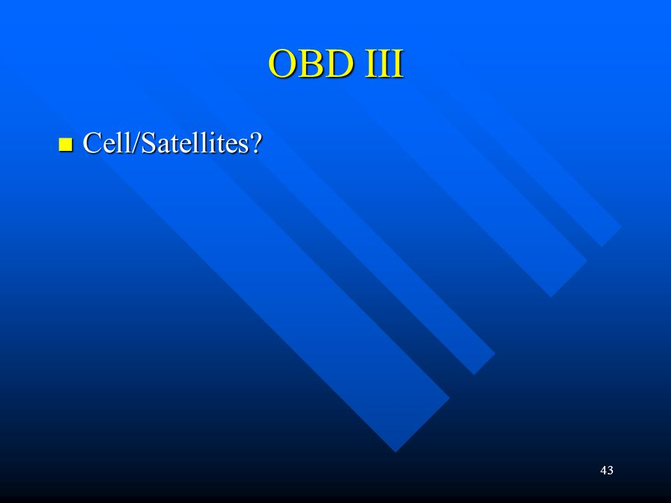 OBD III Cell/Satellites