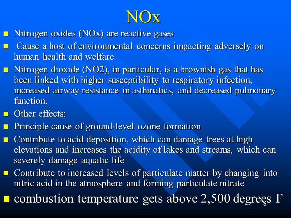 NOx combustion temperature gets above 2,500 degrees F