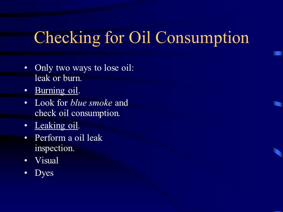 Checking for Oil Consumption
