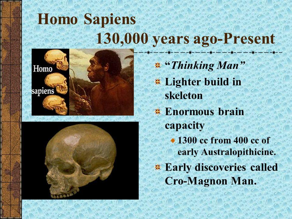 Homo Sapiens 130,000 years ago-Present
