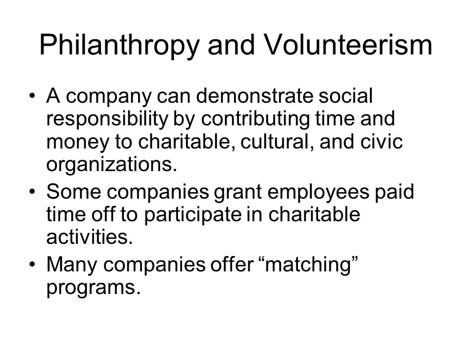 Philanthropy and Volunteerism