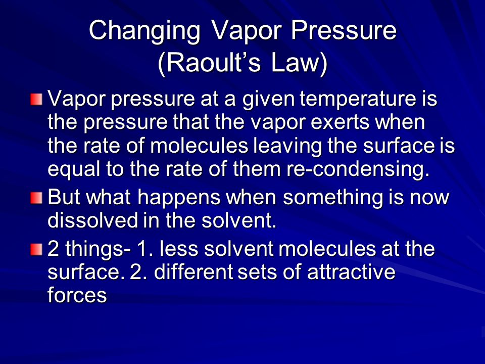 Changing Vapor Pressure (Raoult's Law)