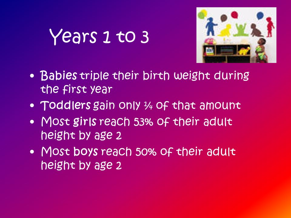 Years 1 to 3 Babies triple their birth weight during the first year