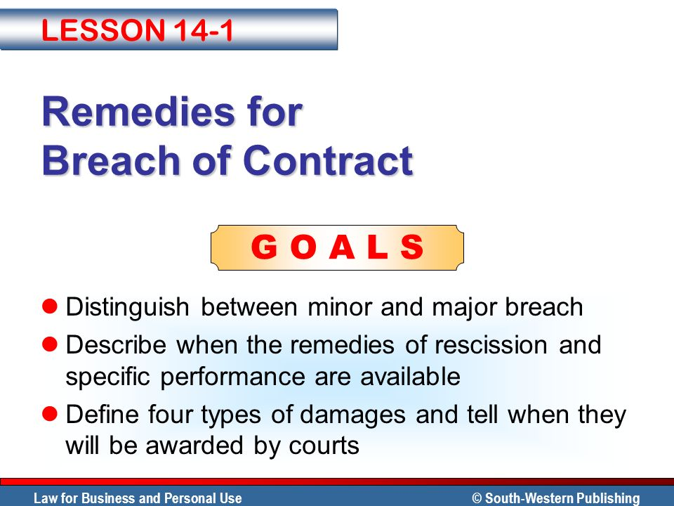 remedies for breach of contract Many states utilize a mix of statutory and common law to provide remedies for breach of contract there are two general categories of remedies for breach of contract: damages and performance.