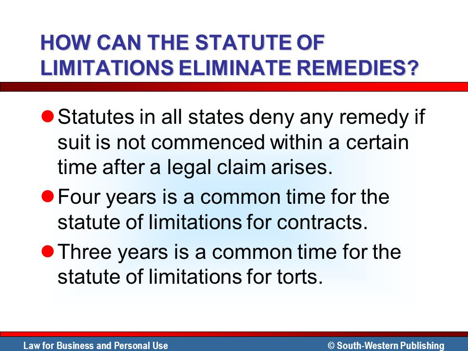 HOW CAN THE STATUTE OF LIMITATIONS ELIMINATE REMEDIES