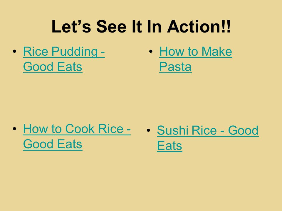 Let's See It In Action!! Rice Pudding - Good Eats How to Make Pasta