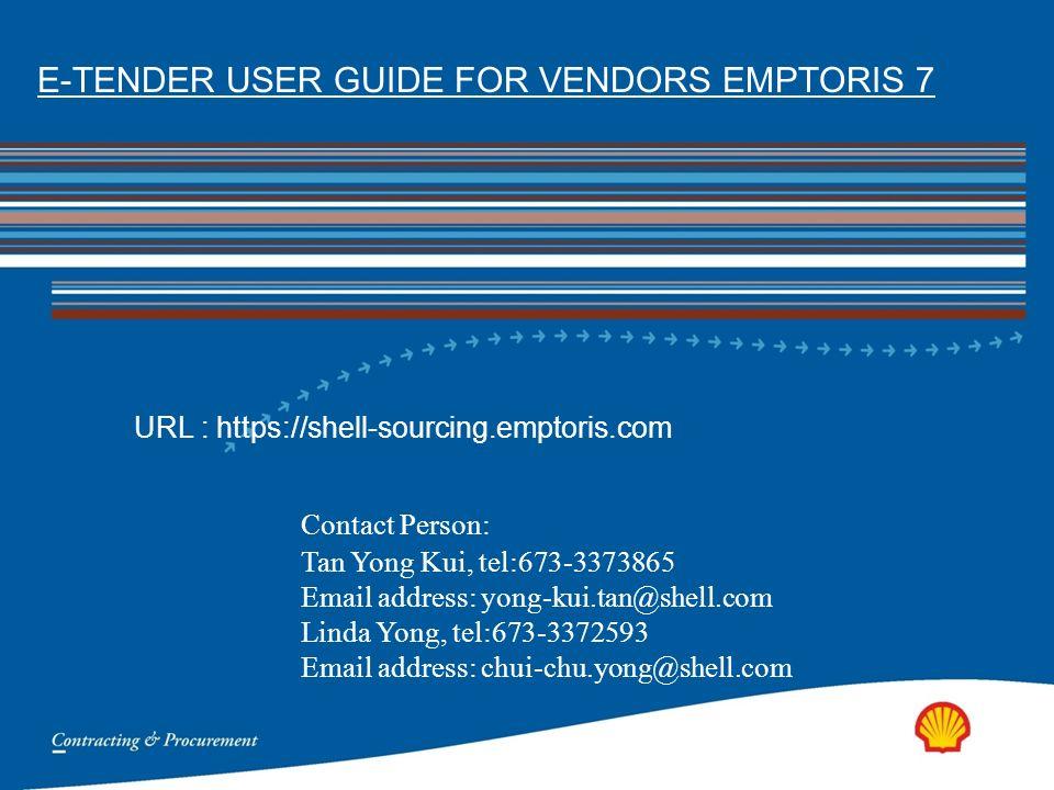 e tender user guide for vendors emptoris 7 ppt video online download rh slideplayer com Blip Scale User's Guide Pcoket Guide